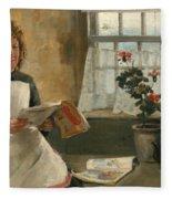 Girl In A Cottage Window Fleece Blanket