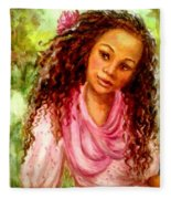 Girl In A Pink Dress Fleece Blanket