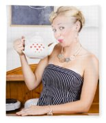 Girl In Cafe Serving Hot Coffee With Heart Teapot Fleece Blanket