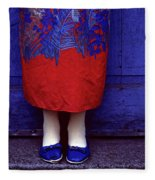 Girl In Colorful Flower Dress Fleece Blanket