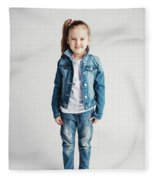 Girl In Jeans Clothes On White Background. Fleece Blanket