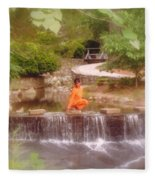Girl In Orange Fleece Blanket