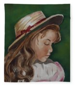 Girl In Ribboned Straw Hat Fleece Blanket