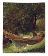 Girl In The Hammock Fleece Blanket