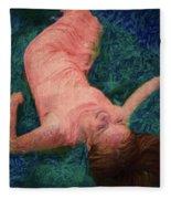 Girl In The Pool 14 Fleece Blanket