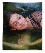Girl In The Pool 15 Fleece Blanket