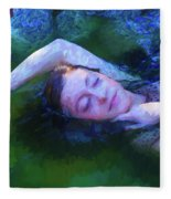 Girl In The Pool 20 Fleece Blanket