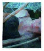 Girl In The Pool 23 Fleece Blanket