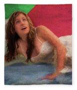 Girl In The Pool 3 Fleece Blanket