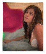 Girl In The Pool 4 Fleece Blanket