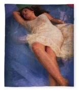 Girl In The Pool 6 Fleece Blanket