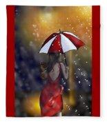 Girl In The Rain  Fleece Blanket