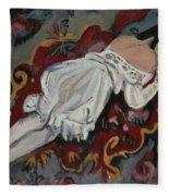 Girl In White Chemise Fleece Blanket