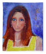 Girl In Yellow Dress Fleece Blanket