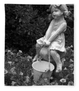 Girl On A Mushroom Fleece Blanket