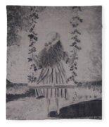 Girl On A Swing Fleece Blanket