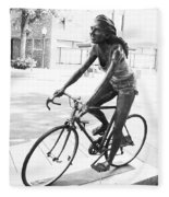 Girl On Bike Sculpture Grand Junction Co Fleece Blanket