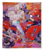 Girl On Red Bike Fleece Blanket