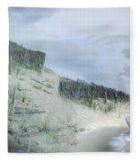 Girl Picking Up Sea Shells Fleece Blanket