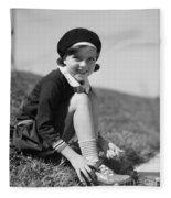 Girl Putting On Roller Skates, C.1930s Fleece Blanket