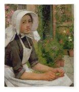 Girl Shelling Peas Fleece Blanket