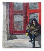 Girl Sitting At Red Doorstep Fleece Blanket