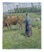 Girl Tending A Cow In Pasture Fleece Blanket
