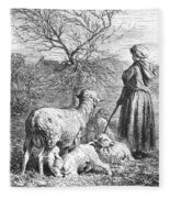 Girl Tending Sheep Fleece Blanket
