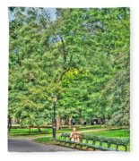 Girl Uninterrupted In Central Park Fleece Blanket