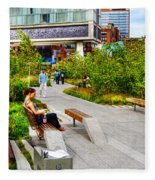 Girl Uninterrupted On The High Line Fleece Blanket