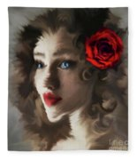 Girl With A Red Rose.. Fleece Blanket