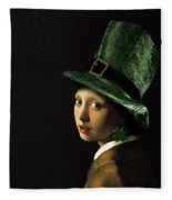 Girl With A Shamrock Earring Fleece Blanket