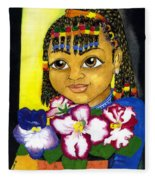 Girl With African Violet Fleece Blanket