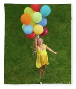Girl With Air Balloons Fleece Blanket