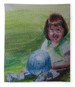 Girl With Ball Fleece Blanket