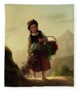 Girl With Basket Fleece Blanket