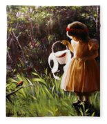 Girl With Basket Of Roses Fleece Blanket
