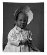 Girl With Bonnet And Curls Fleece Blanket
