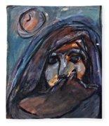 Girl With Cat And Moon Fleece Blanket