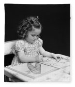 Girl With Coloring Book, C.1960-40s Fleece Blanket