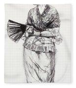 Girl With Fan Fleece Blanket