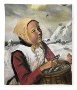 Girl With Fish Basket Fleece Blanket