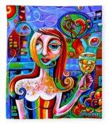 Girl With Glass Of Chardonnay Fleece Blanket