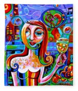 Girl With Glass Of Chardonnay Fleece Blanket