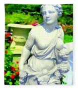 Girl With Grapes In Garden Fleece Blanket