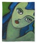 Girl With Green Eye Fleece Blanket