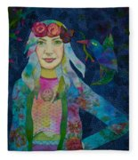 Girl With Kaleidoscope Eyes Fleece Blanket
