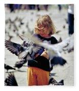 Girl With Pigeons Fleece Blanket