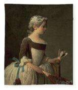 Girl With Racket And Shuttlecock Fleece Blanket