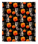 Girl With Roses And Anchors Black Fleece Blanket